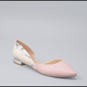 WHBM pink snake skin d'orsay flats silver heel